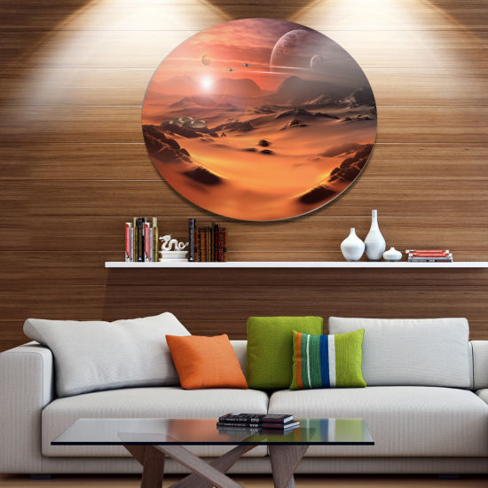 Design Art Alien Planet 3D Rendered Computer Art Landscape Metal Circle Wall Art