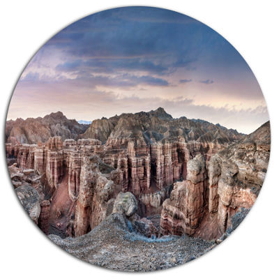Design Art Charyn Canyon In Kazakhstan Large Landscape Metal Circle Wall Art