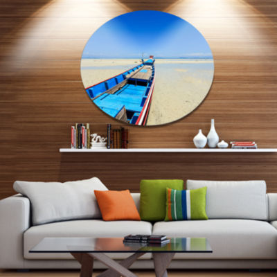 Design Art Long Tail Boat Stand at the Beach Seashore Metal Circle Wall Art
