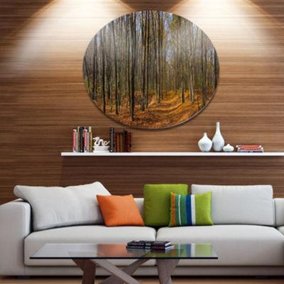 Design Art Dense Fall Forest Panorama Forest MetalCircle Wall Art