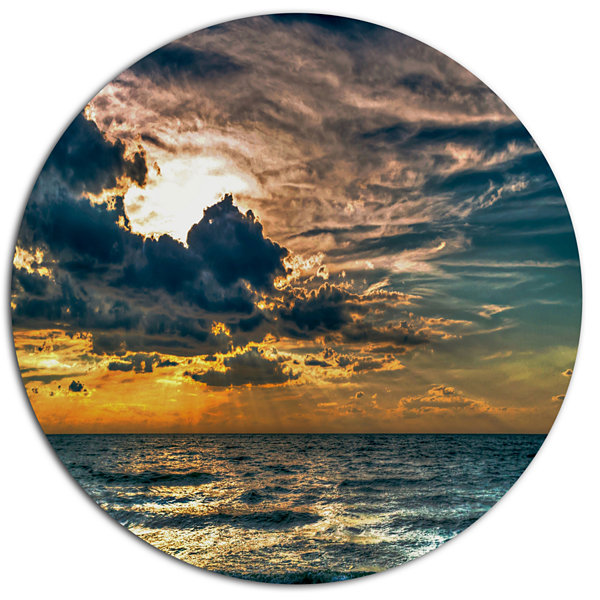 Design Art Sun Break over Blue Ocean Large Seashore Metal Circle Wall Art