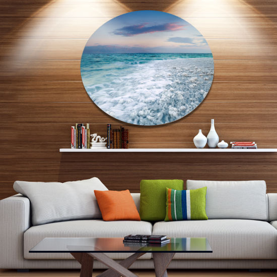 Design Art Beautiful Sunrise at Dead Sea SeashoreMetal Circle Wall Art