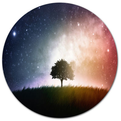 Design Art Single Tree Space Background Trees Metal Circle Wall Art