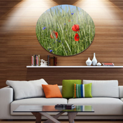 Design Art Rural Landscape with Red Poppies LargeLandscape Metal Circle Wall Art