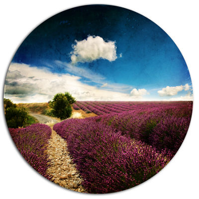 Design Art Lavender Field with Dramatic Blue Sky Large Landscape Metal Circle Wall Art