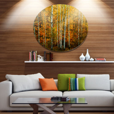 Design Art Yellow Colorful Autumn Forest Forest Metal Circle Wall Art