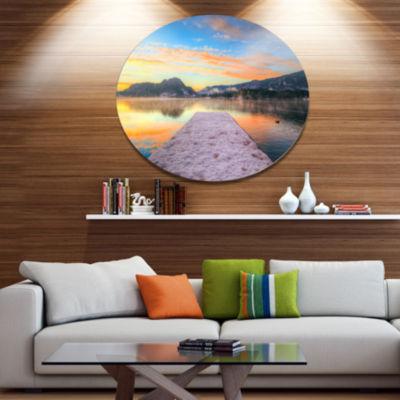 Design Art Bled With Lake in Winter Slovenia Bridge Metal Circle Wall Art