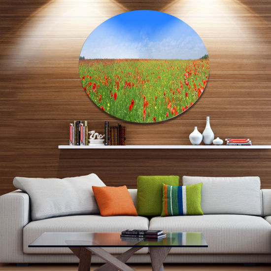 Design Art Poppy Meadow Panorama Landscape Metal Circle Wall Art