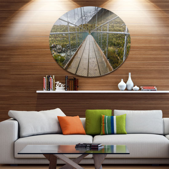 Design Art Bridge Over Hooker River in Aoraki Bridge Metal Circle Wall Art