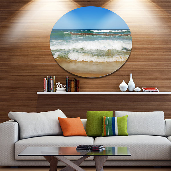 Design Art Beautiful Empty Beach under Blue Sky Large Seashore Metal Circle Wall Art