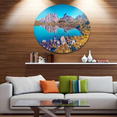 Design Art Lago Rienza Ursprung Panorama Large Seashore Metal Circle Wall Art
