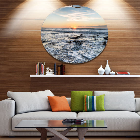 Design Art White Surf with Turbulent Sea SeashoreMetal Circle Wall Art