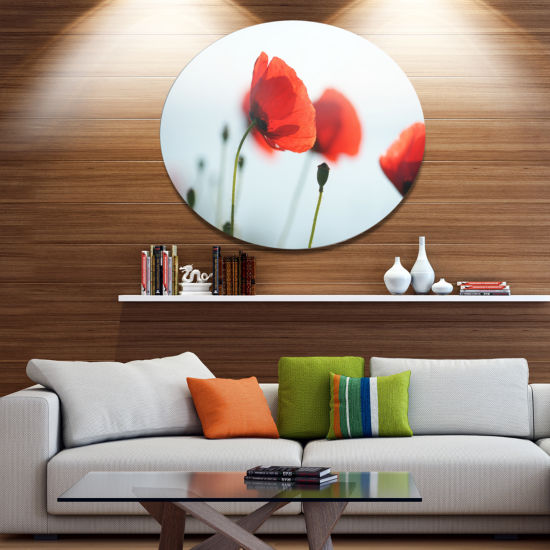 Design Art Poppies on Background of Sea Floral Metal Circle Wall Art