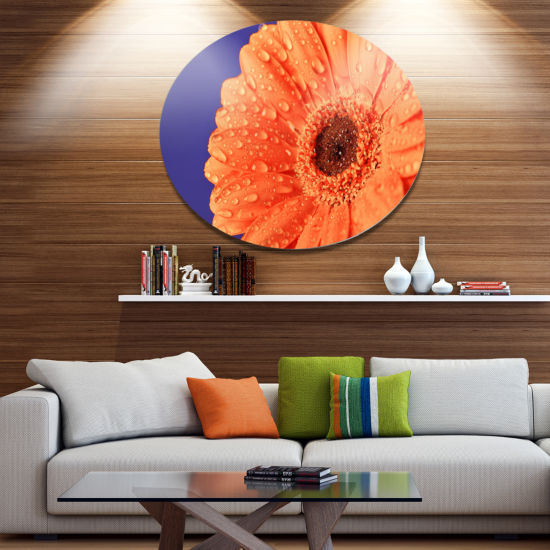 Design Art Orange Daisy On Purple Background Floral Metal Circle Wall Art