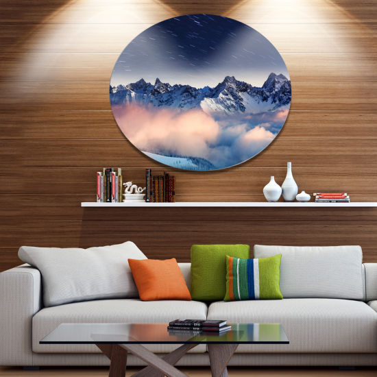 Design Art Milky Way Over Frosted Mountains Landscape Metal Circle Wall Art