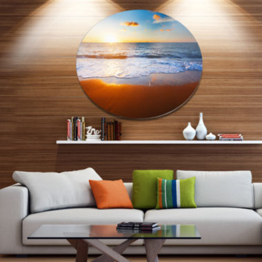 Design Art Blue Sea and Sky with Sandy Beach Seashore Metal Circle Wall Art