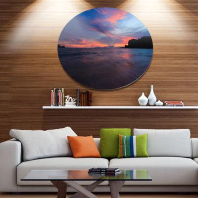 Design Art Sunset at Railay Beach Andaman Sea Seashore Metal Circle Wall Art