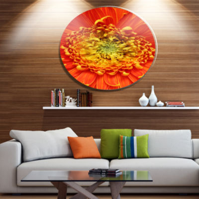 Design Art Beautiful Gerbera Flower In Brig FloralMetal Circle Wall Art