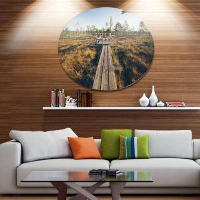 Design Art Retro Grainy Film Look Footpath Large Landscape Metal Circle Wall Art