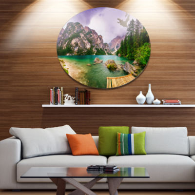 Design Art Mountain Lake Between Mountains Large Landscape Metal Circle Wall Art