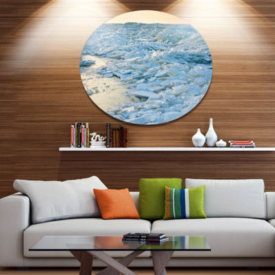 Design Art Baltic Sea Winter Landscape Landscape Metal Circle Wall Art