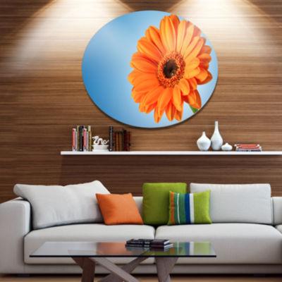 Design Art Orange Daisy Gerbera Flower on Blue Floral Metal Circle Wall Art
