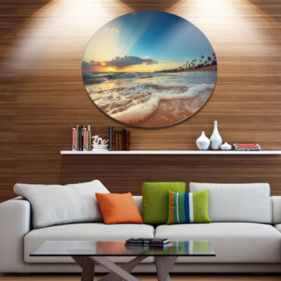 Design Art Exotic Beach in Dominican Republic Seashore Metal Circle Wall Art