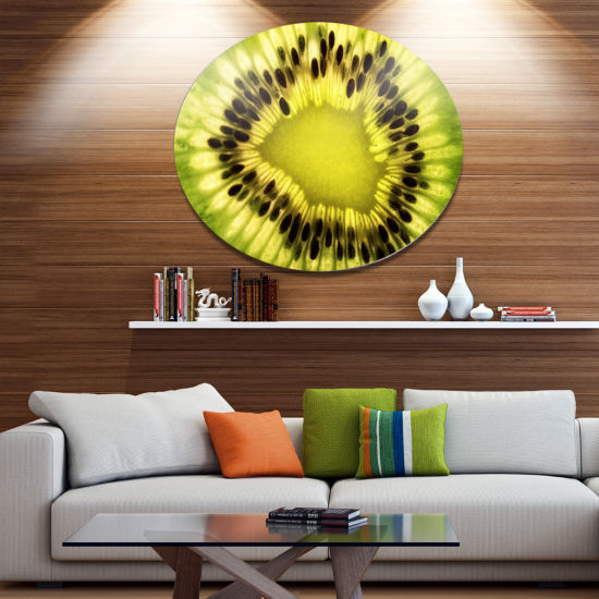 Design Art Green Kiwi Seeds and Inside Pattern Contemporary Metal Circle Wall Art