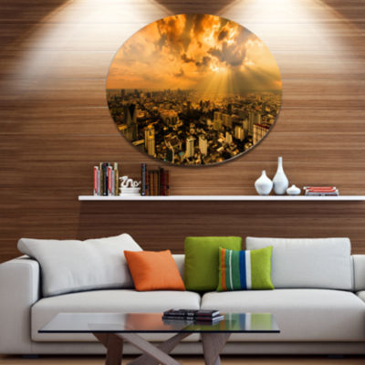Design Art Light Shining Through Dark Clouds ExtraLarge Metal Circle Wall Art
