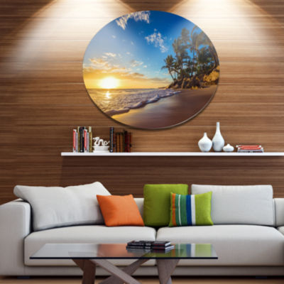 Design Art Paradise Tropical Island Beach SunriseSeashore Metal Circle Wall Art