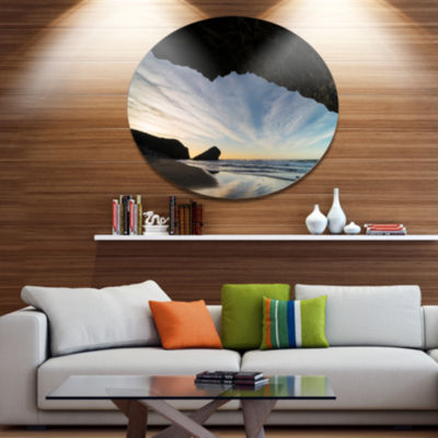 Design Art Monsul Beach during Sunset Large Seashore Metal Circle Wall Art