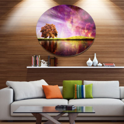 Design Art Magic Night with Colorful Clouds Landscape Metal Circle Wall Art