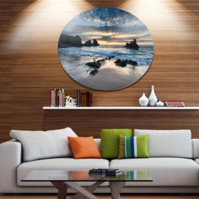Design Art Beautiful Porthcothan Bay Seashore Metal Circle Wall Art