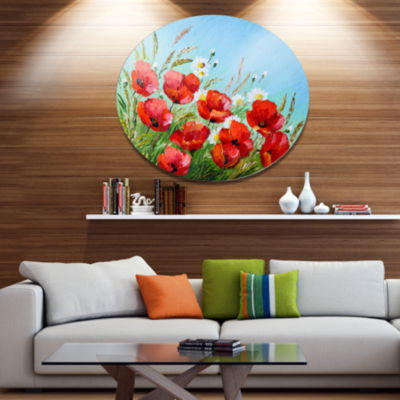 Design Art Poppies in Field against Blue Sky Floral Metal Circle Wall Art