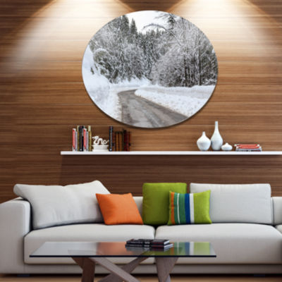 Design Art Foggy Winter Road in Slovenia Large Landscape Metal Circle Wall Art