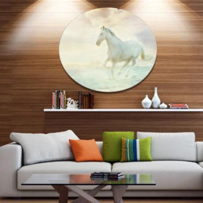 Design Art Fantasy White Horse Animal Metal CircleWall Art