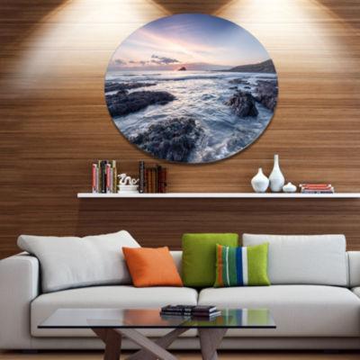 Design Art Rocky Wembury Beach Sunset Large Seashore Metal Circle Wall Art