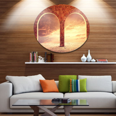 Design Art Fantasy Background with two Arches Landscape Metal Circle Wall Art