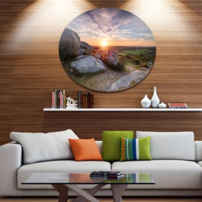 Design Art Stunning Sunrise over Countryside Seashore Metal Circle Wall Art
