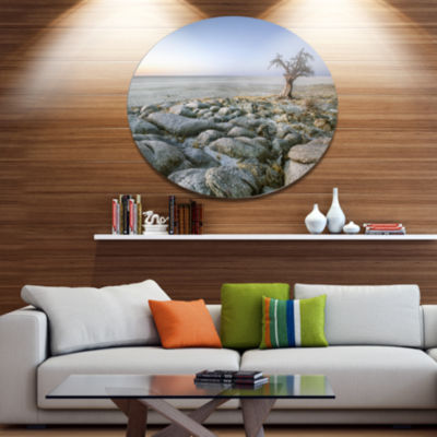 Design Art Baobab Tree on Rocky Terrain Large Landscape Metal Circle Wall Art