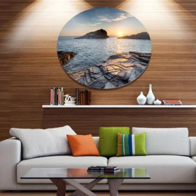 Design Art Sunset over the Cornwall Coast SeashoreMetal Circle Wall Art