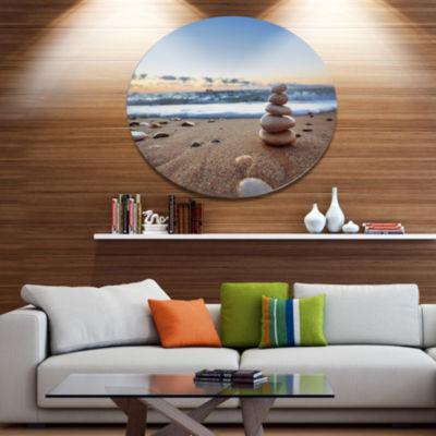 Design Art Stones Balance on Sandy Beach SeashoreMetal Circle Wall Art