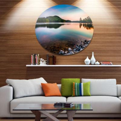 Design Art Lake Allatoona at Red Top Mountain Large Seashore Metal Circle Wall Art