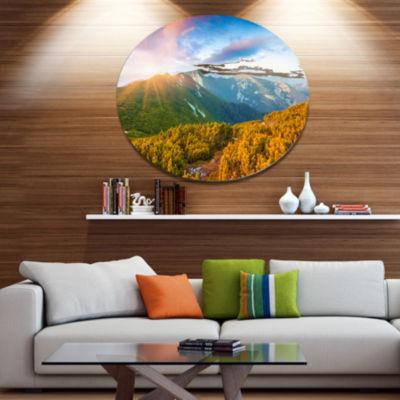 Design Art Bright Sunrise in Carpathian MountainsLandscape Metal Circle Wall Art
