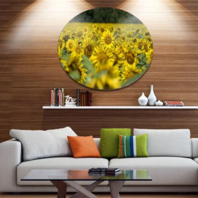 Design Art Bright Yellow Sunflowers Field Floral Metal Circle Wall Art