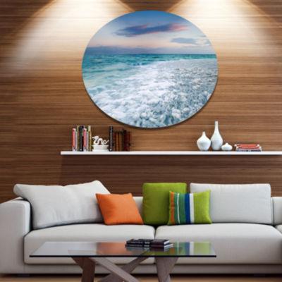 Design Art Beautiful Sunrise at Dead Sea SeashoreMetal Circle Wall Art