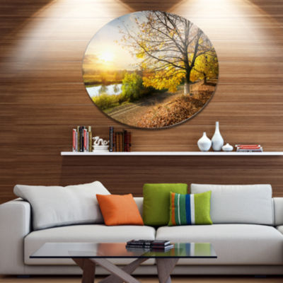 Design Art Beautiful Road by the River Large Landscape Metal Circle Wall Art