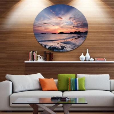 Design Art Dramatic Sky at Sunset on Isle of IonaSeashore Metal Circle Wall Art