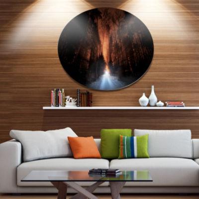 Design Art Picturesque Autumn Forest Forest MetalCircle Wall Art