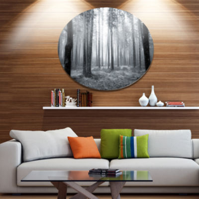 Design Art Black and White Foggy Forest Forest Metal Circle Wall Art